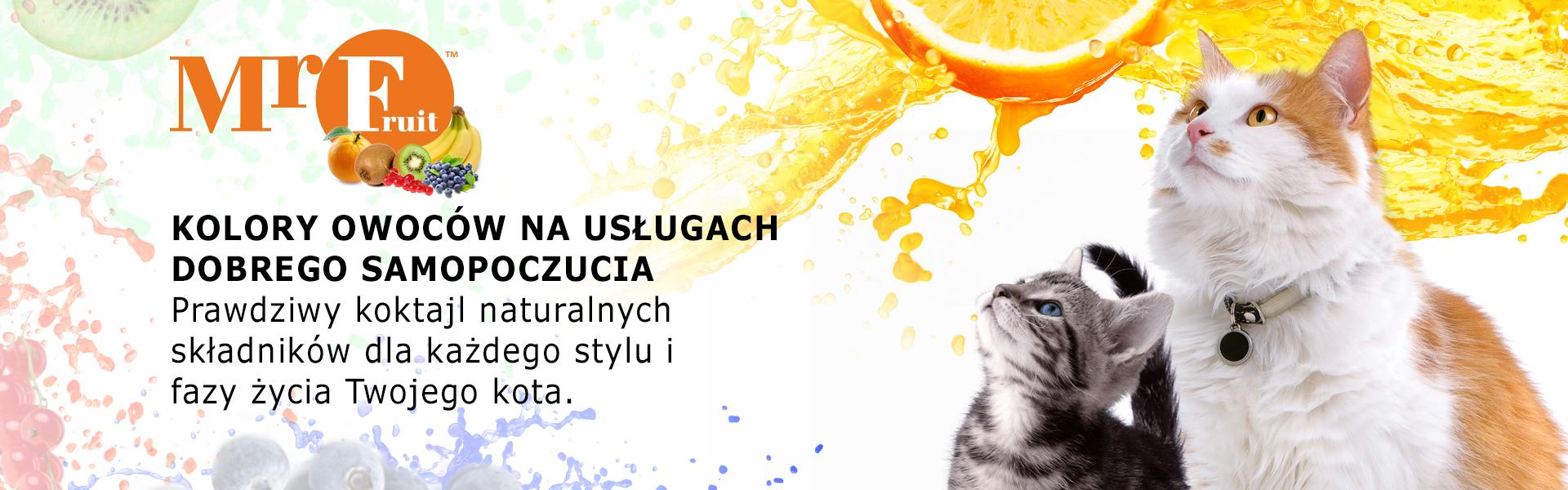 MrFruit, kolory owoców na usługach dobrego samopoczucia. Prawdziwy koktail naturalnych składników dla każdego stylu i fazy życia Twojego kota.